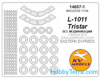 Mask 1/144 for L-1011 Tristar (with side windows on fuselage) and wheels masks, for Eastern Express kit