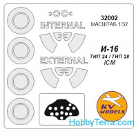 Mask 1/24 for I-16 type 24/type 28 + wheels, for ICM kit