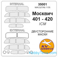 Mask 1/35 for Moscvich 401-420 (Double sided), for ICM kit
