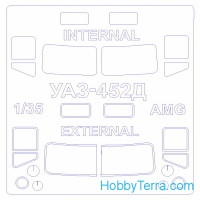 "Mask 1/35 for UAZ-452D ""Golovastik"" (Double sided), for AMG kit"