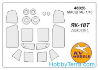 Mask 1/48 for Yak-18T and wheels masks, for Amodel kit
