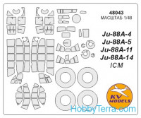 Mask 1/48 for Ju-88A-4 / A-5 / A-11 / A-14 + wheels, for ICM kit