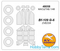 Mask 1/48 for Bf-109G-6 + wheels, for Zvezda kit
