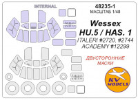 Mask 1/48 for Wessex HU.5/HAS. 1 (Double sided) + wheels masks (Italeri, ACADEMY)