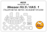 Mask 1/48 for Wessex HU.5/HAS. 1 + wheels masks (Italeri, ACADEMY)