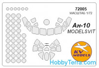 Mask 1/72 for Antonov An-10, for ModelSvit kit