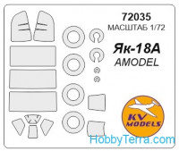 Mask 1/72 for Yak-18A and wheels masks, for Amodel kit