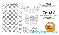 Mask 1/72 for Tupolev Tu-134, for Amodel kit
