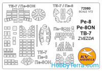 Mask 1/72 for Petlyakov Pe-8 / Pe-8ON / TB-7, for Zvezda kit