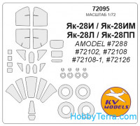Mask 1/72 for Yak-28PP/Yak-28I and wheels masks, for Amodel kit