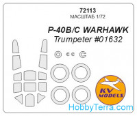 Mask 1/72 for P-40 B/C Warhawk and wheels masks, for Trumpeter kit