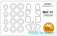 Mask 1/72 for MiG-31 and wheel masks, for Zvezda kit