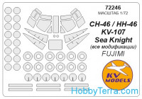 "Mask 1/72 for CH-46 ""Sea Knight"" and wheels masks, for Fujimi kit"