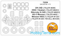 Mask 1/72 for UH-34 / S-58 / Wessex and wheels masks, for Italeri/Revell kit