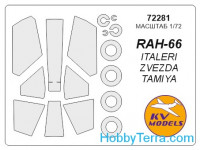 Mask 1/72 for RAH-66 Comanche + wheels masks (Double sided), for Italeri/Zvezda/Tamiya kits