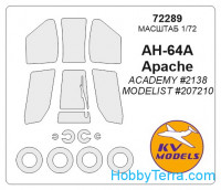 Mask 1/72 for AH-64A Apache and wheels masks, for Academy kit