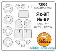 Mask 1/72 for Yak-9P and wheels masks, for Amodel kit