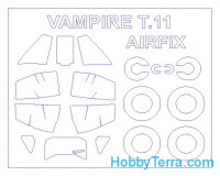 Mask 1/72 for De Havilland Vampire T.11 and wheels masks, for Airfix kit