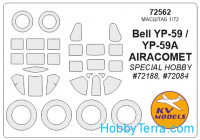Mask 1/72 for Bell P-59 and wheels masks, for Special Hobby kit