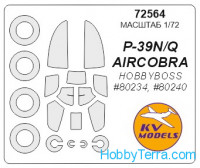 Mask 1/72 for P-39Q and wheels masks, for Hobby Boss kit