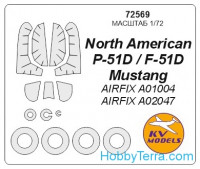 Mask 1/72 for P-51D Mustang + wheels, for Airfix kit