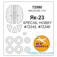 Mask 1/72 for Yak-23 and wheels masks, for Special Hobby kit