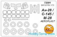 Mask 1/72 for Antonov An-28 and wheels masks, for Aeroplast kit