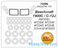 Mask 1/72 for Beechcraft 1900C and wheels masks, for Amodel kit
