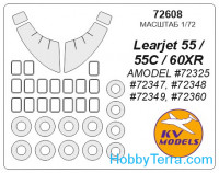 Mask 1/72 for Learjet 55/60 and wheels masks, for Amodel kit