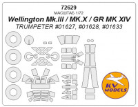 Mask 1/72 for Wellington Mk.III/MK.X/GR MK XIV + wheels, Trumpeter kits