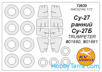 Mask 1/72 for Su-27 and wheels masks, for Trumpeter kit