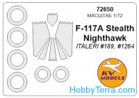 Mask 1/72 for Lockheed F-117A Nighthawk and wheels masks, for Italeri kit