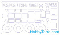 "Mask 1/72 for Nakajima B5N1 / B5N2 ""Kate"" + wheels, for Airfix kit"