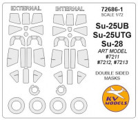 Mask 1/72 for Su-25UB/Su-25UTG/Su-28 + wheels (Double sided), Art model kits