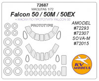Mask 1/72 for Falcon 50/50EX/50M + prototype masks and masks for wheels (Amodel, Sova-M)