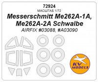 Mask 1/72 for Messerschmitt Me262A-1A, Me262A-2A Schwalbe + wheels masks (AirFix)
