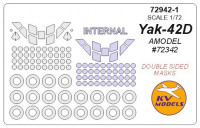 Mask 1/72 for Yak-42D (Double sided) + wheels masks, for Amodel kit