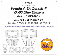 Mask 1/72 for Vought A-7A Corsair-II VA-93 Blue Blazers/A-7E Corsair II/A-7D CORSAIR 11 (Fujimi)