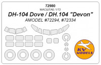 "Mask 1/72 for DH-104 Dove/DH.104 ""Devon""  + wheels, Amodel kits"