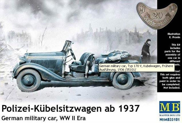 Master Box  35101 Polizei-Kubelsitzwagen ab 1937. German military car