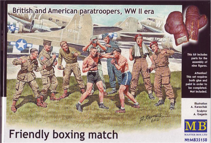 Friendly boxing match. British and American paratroopers