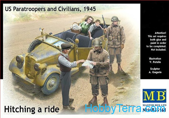 Hitching a ride. US Paratroopers and Civilians, 1945