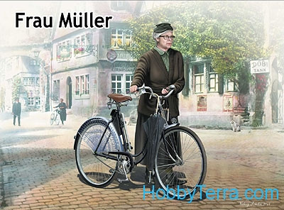 Frau Muller. Woman & women's bicycle, Europe, WWII Era