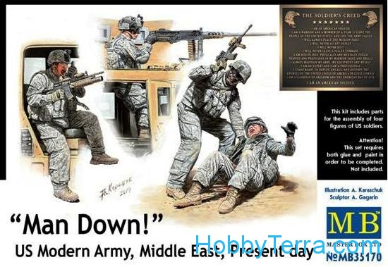Master Box  35170 Man Down! U.S. Modern Army, Middle east, present day