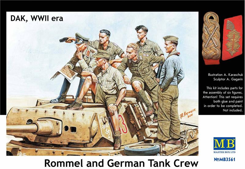 Rommel and German tank crew, DAK, WWII era