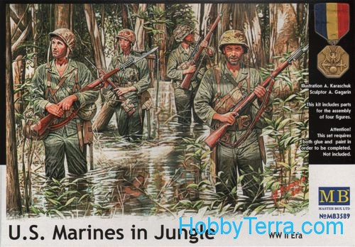 U.S. Marines in jungle, WWII era