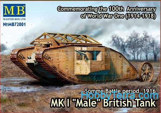 "Master Box  72001 Mk I ""Male"" British tank, Somme battle, 1916"