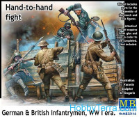 Hand-to-hand fight, German & British infantrymen, WWI era