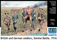 British and German soldiers, Somme Battle, 1916