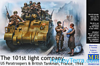 101th light company. US paratroopers and British tankman, France, 1944